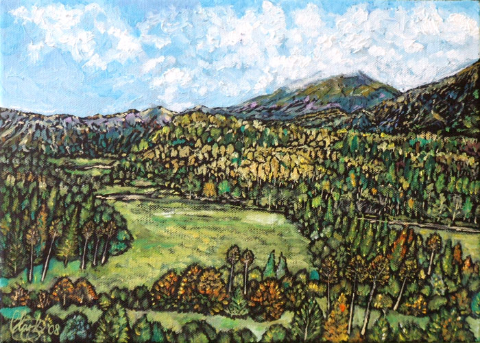 Alpine View (oil on canvas)