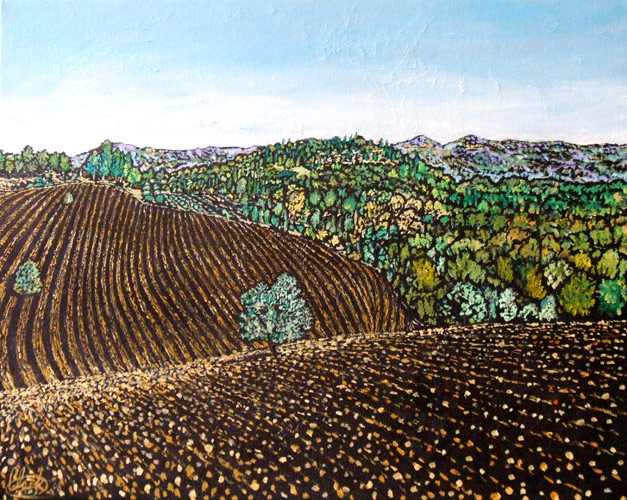 Ploughed Fields (oil on canvas)